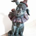 Clown dog sculpture