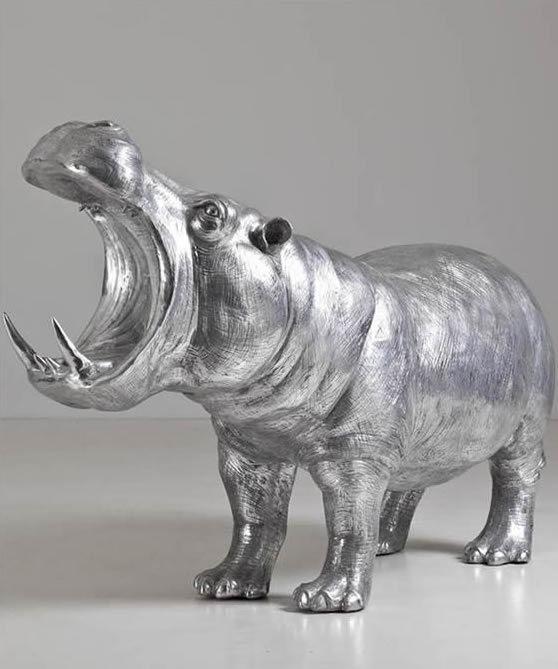 Aluminium sculpture - hippopotame