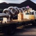 sculptura transcendence steel sculpture installation