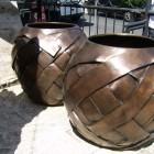 bronze strap urn sculpture