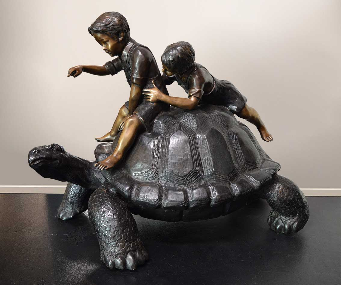 Children and Tortoise Bronze Sculpture