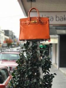 Orange Birkin Bag sculpture