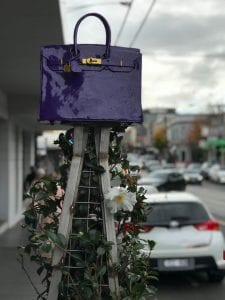Purple Birking Bag Sculpture